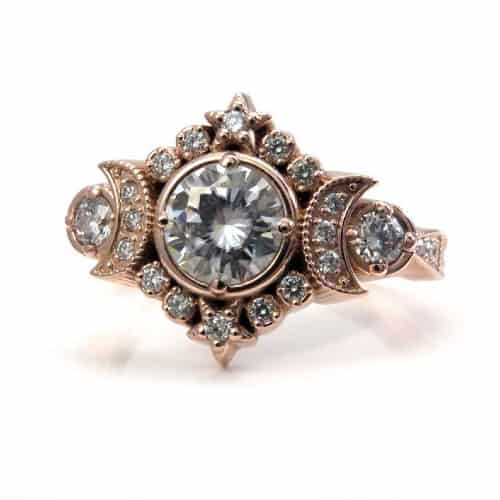 Triple Moon Goddess Engagement Ring