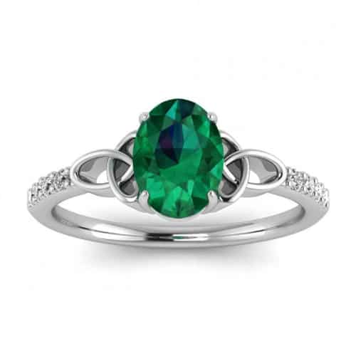 Love Knot Emerald and Diamond Celtic Ring