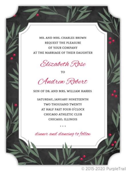 Holly Berry Wedding Invitation