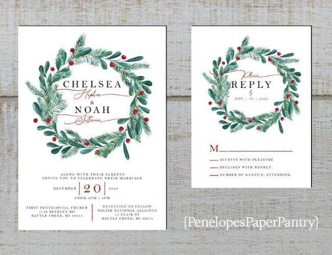 Christmas Wreath Wedding Invitation