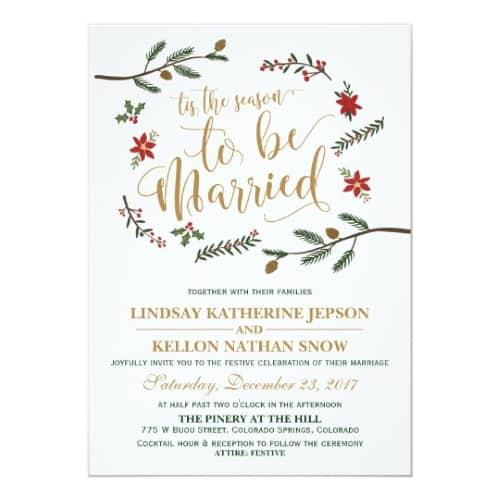Festive Holiday Christmas Wedding Invitation