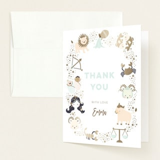 Horoscope Thank You Card for baby shower
