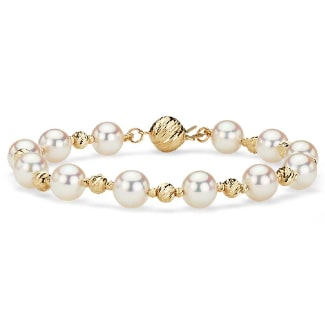 Alternating Akoya and Gold Bead Bracelet