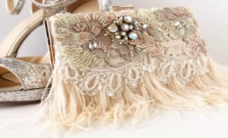 Beaded Clutch with Blush Ostrich Feathers,