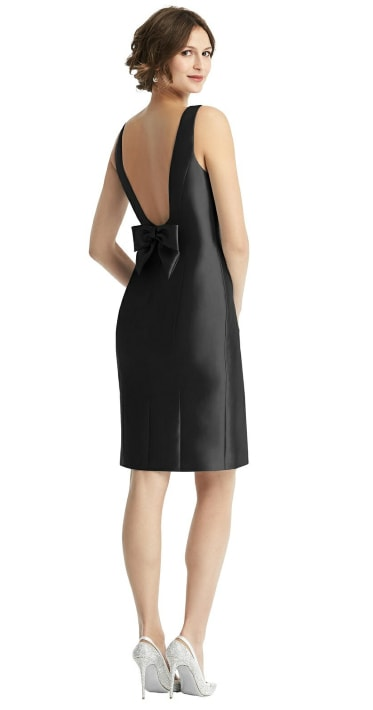 Black Bow Open-Back Satin Cocktail Dress with Front Slit