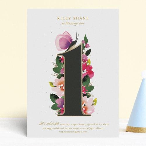 Butterfly Garden 1st birthday Invite