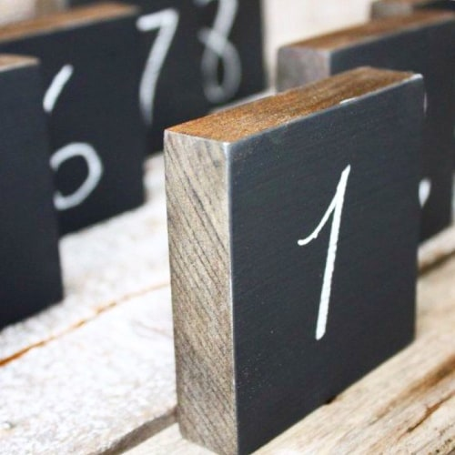 Chalkboard Table Number Blocks