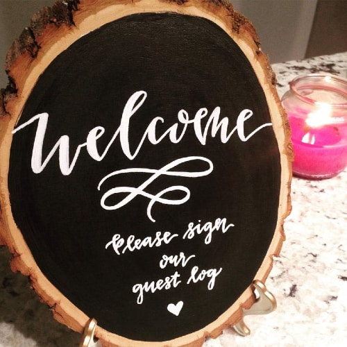 Guest Log Wood Slice Chalkboard Sign