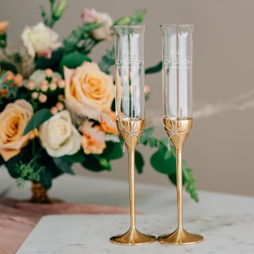 personalized toasting flutes in gold