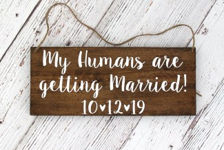 Humans Getting Married Wood Sign