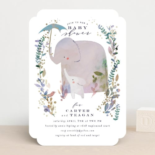 Baby Elephant Print Invitation