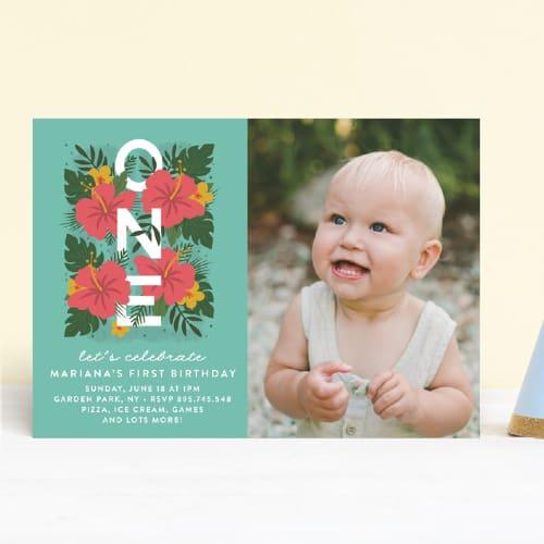 Festive baby birthday Invite