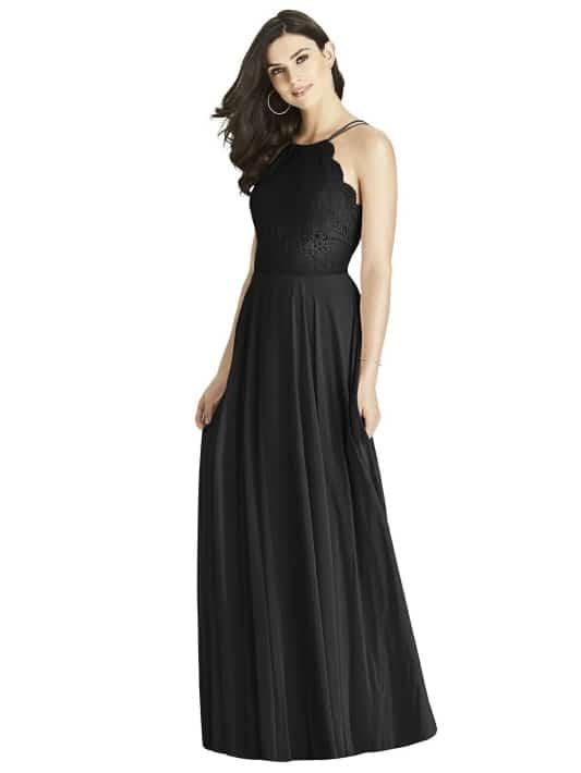 Black Lace Bodice Halter Maxi Dress