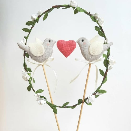 Linen Love Birds Cake Topper