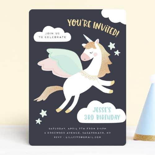 Magical pegasus (unicorn) birthday invite