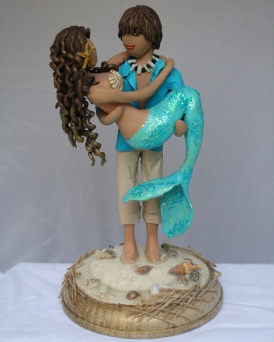 Mermaid and Beach Boy Wedding Cake Topper