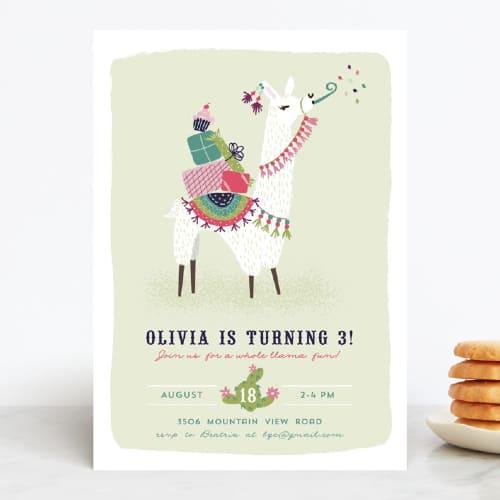 Party Llama birthday invitation