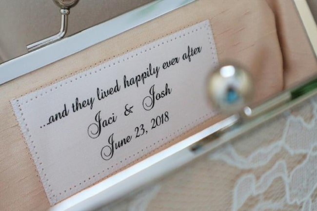 Personalized Label for Bridesmaid Clutch