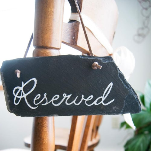 "Slate Wedding Chair Signs - ""Reserved"""