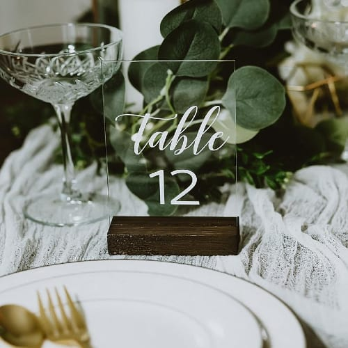Acrylic Wedding Table Numbers with Stands