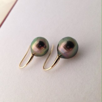 Peacock Tahitian Pearl Earrings