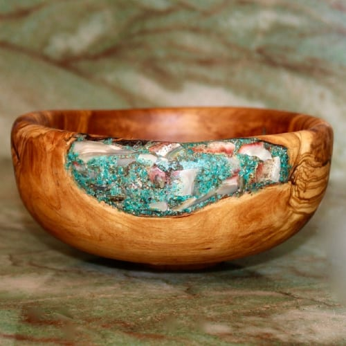 Olive Wood Bowl with Mother of Pearl