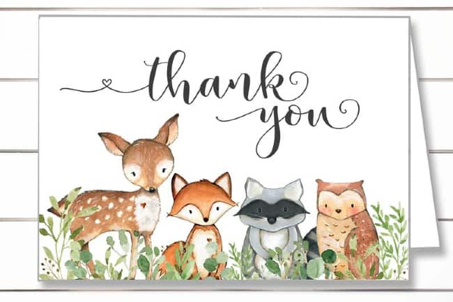 Woodland Animals Thank You Card