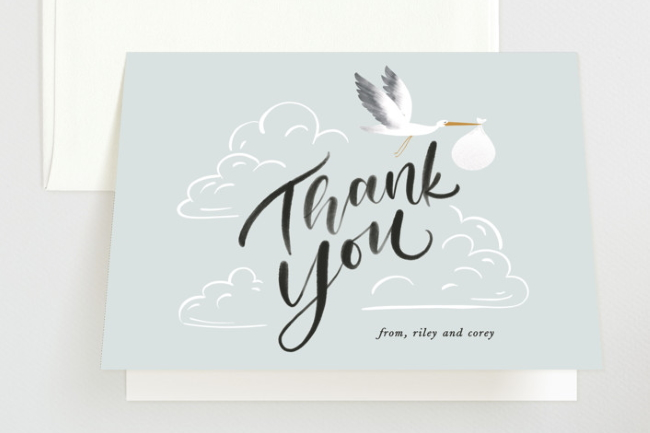 stork baby shower thank you card