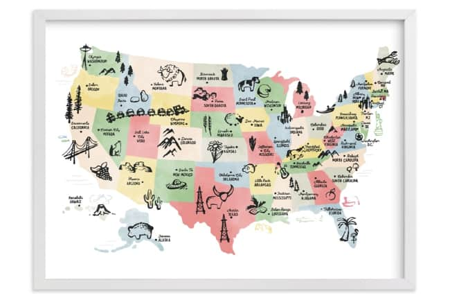 Retro United States Map by Jessie Steury