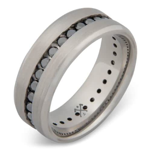 Cobalt & Black Diamond Mens Wedding Band