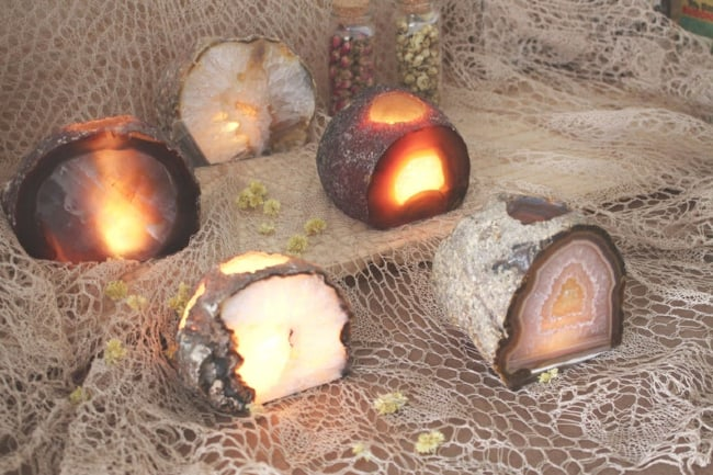 Natural Crystal Candle Holders
