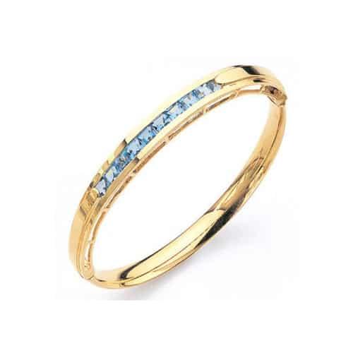 Blue Topaz & Gold Bangle Bracelet