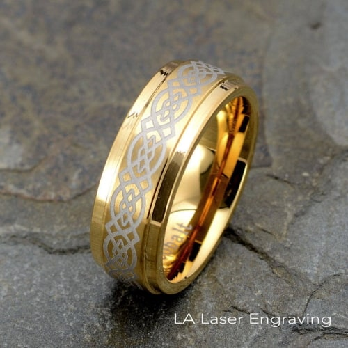 Celtic Design Yellow Gold Cobalt Ring