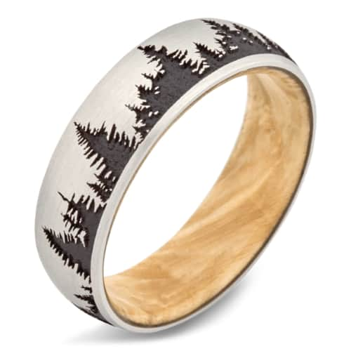Cobalt Tree Engraving Wedding Band