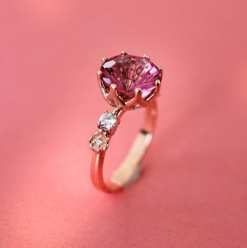 Dark Pink Topaz Flower Ring