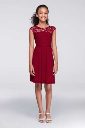 Cap Sleeve Lace and Mesh Girls Dress