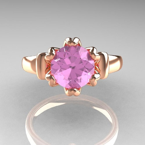 Rose Gold 1.5 Carat Light Pink Topaz Solitaire Engagement Ring