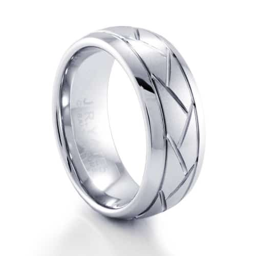 Mens Criss Cross Cobalt Wedding Band