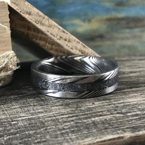 Steel & Meteorite Ring