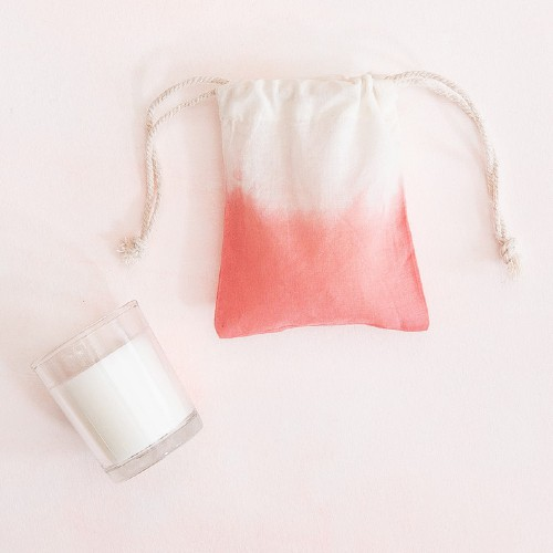 Votive Candle in a Dip-Dyed Pouch
