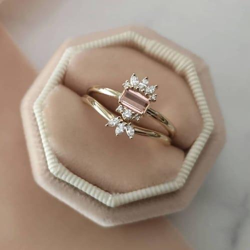 Pink Topaz Engagement Ring
