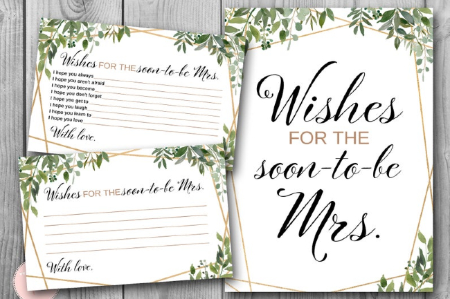 Wishes for the Soon to be Mrs, Engagement Party Activity