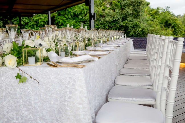 wedding reception table and chairs