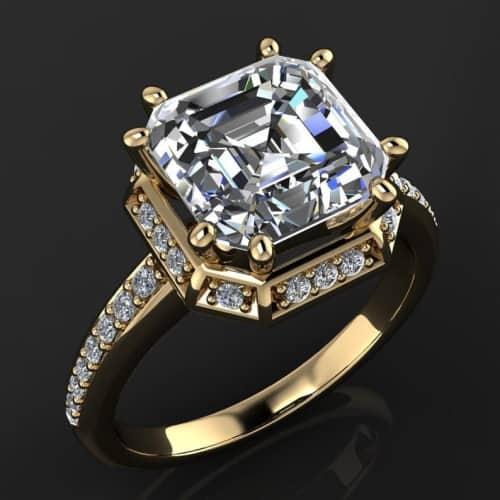 Zaya Moissanite and Diamond Asscher Cut Ring
