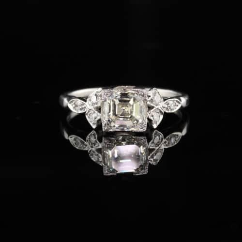 Vintage Art Deco Asscher Cut Diamond Engagement Ring