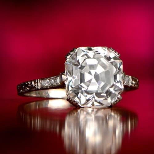 Antique Asscher Cut Engagement Ring