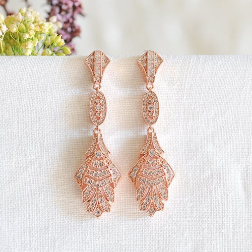 Rose Gold Art Deco Style Chandelier Earrings