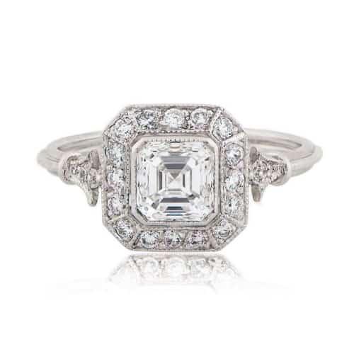 Vintage Asscher Cut Diamond Halo Engagement Ring