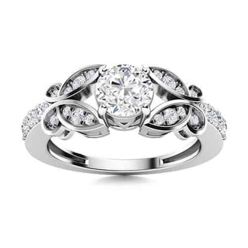 Round .97ct Vintage White Sapphire Ring