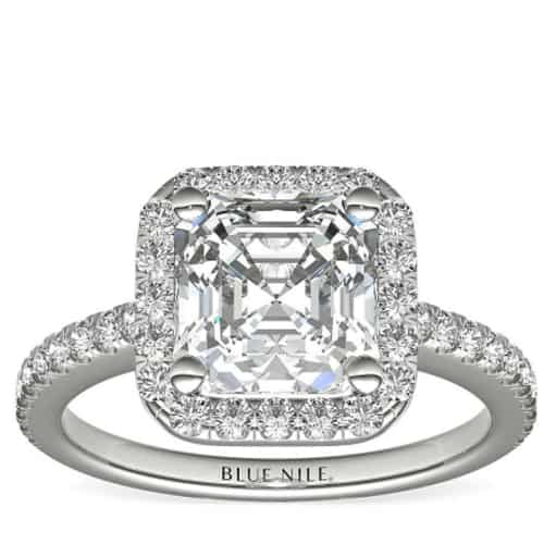 Asscher Cut Halo Diamond Engagement Ring Blue Nile